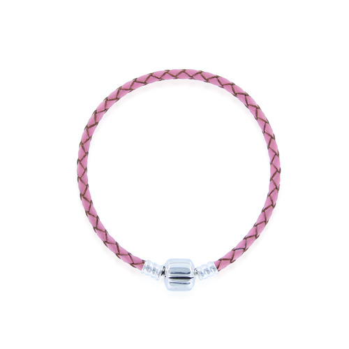 "Pink Leather Charm Bracelet 8.26""/21cm - SKU:SL-P-21"
